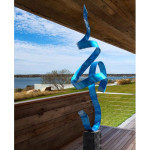 Abstract Blue Metal Hand-crafted Indoor-outdoor Sculpture Accentuates Your Garden With Less To No Carbon Emission