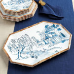 Bamboo Melamine Platter Features Chinoiserie Motifs