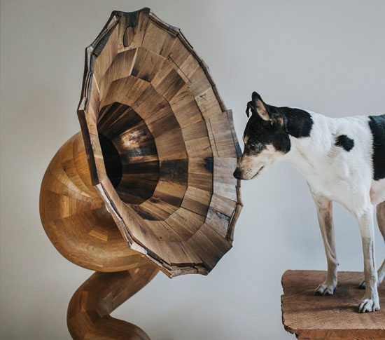 Bellaphone No.7 : Horn Speaker Made from a Herradura Tequila Barrel by Fiddle + Hammer