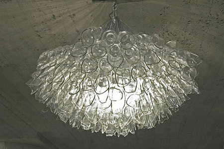 Recycled glass chandelier by eric sauve green design blog broken glass chandelier aloadofball Choice Image
