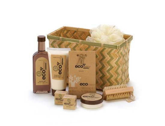 Eco Deluxe Bath Body Gift Basket Lotion Cream Brush Set
