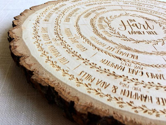Family Tree on Wood - A Slice of Art - Slice Wooded Art