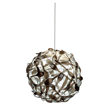 Gluttony : A Wonderful Suspension Lamp Made of Plastic Cutlery