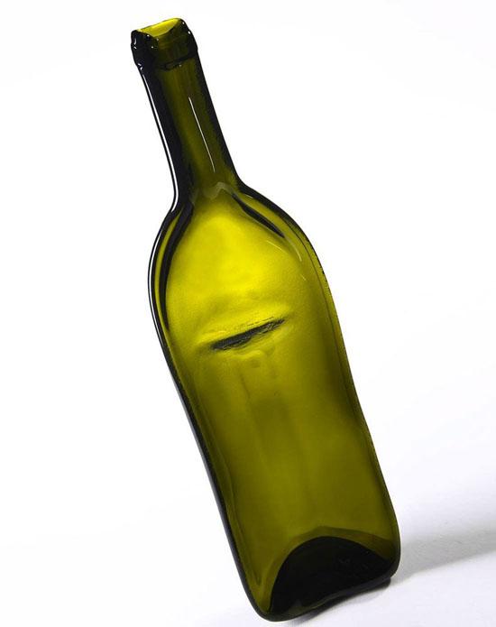 Green Pressed Glass Wine Bottle Divided Serving Platter