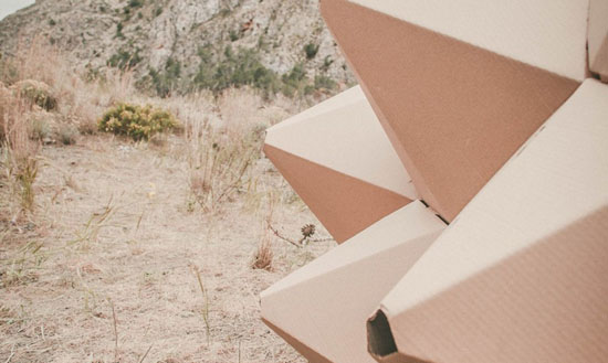 Helix Shelter Is Made of Laser Cut Recycled Cardboard by Ootro eStudio