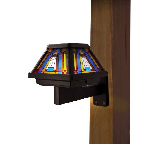 Moonrays 91241 Stained-Glass Solar-Powered LED Post-Cap Lamp