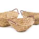 Beautiful Natural Handwoven Water Hyacinth Baskets with Bamboo Handles