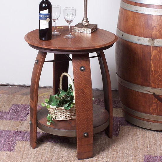 Loon Peak Nori - Recycled Wine Barrel Side Table with Iron Accents