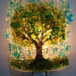 Beautiful Handcrafted Night Light Made of Broken Recycled Bottle Glasses