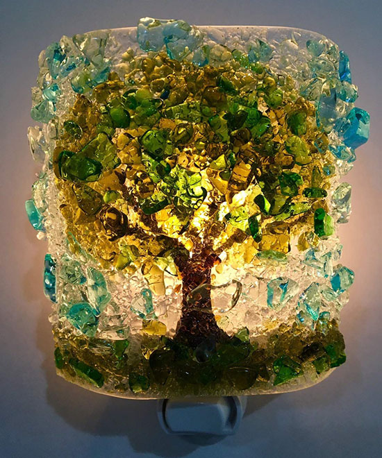 Handcrafted Recycled Glass Oak Tree Fused Bottle Glass Art Night Light by Reborn Glass