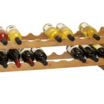 Modern Oceanstar 2-Tier Stackable Bamboo Wine Rack Can Hold Up to 18 Wine Bottles