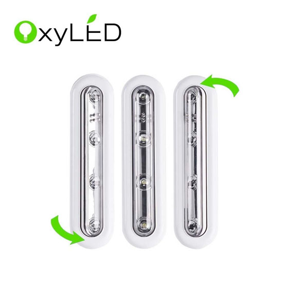 OxyLED T-01 DIY Stick-on Anywhere 4-LED Touch Tap Light Push Light