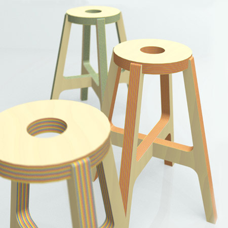 Green Chairs on Paper Wood Stool By Drill Design   Green Design Blog