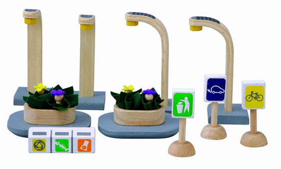 the PlanToys PlanCity Series Eco Street Accessories