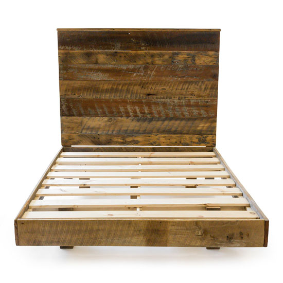 Reclaimed Barnwood High Headboard Bed Sets