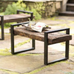 Reclaimed Outdoor Bench Is Handmade of Old Railroad Ties with Iron Frame