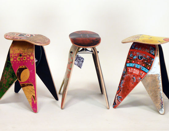 Attirant Recycled Skateboard Furniture By Deckstool