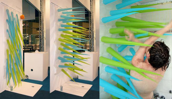 Spiky Inflatable Shower Curtain Prevents You from Wasting Water in The Shower