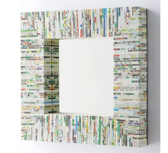 Square Mirror Made From Recycled Magazine
