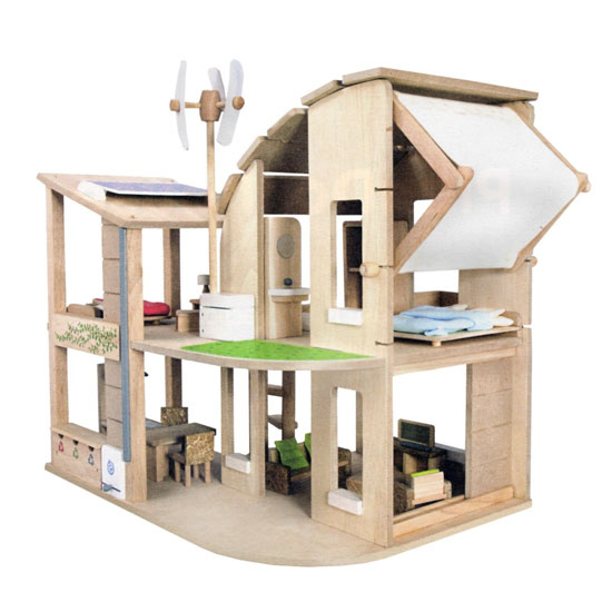The Green Dollhouse with Furniture