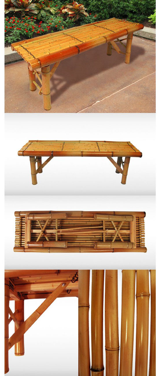 Tiki Bamboo Bench Tropical Coffee Table Patio Bar Bench