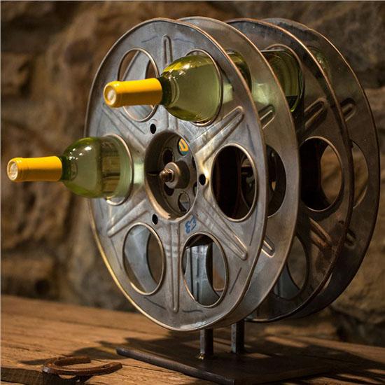 Vintage Film Reel Wine Rack Is Perfect