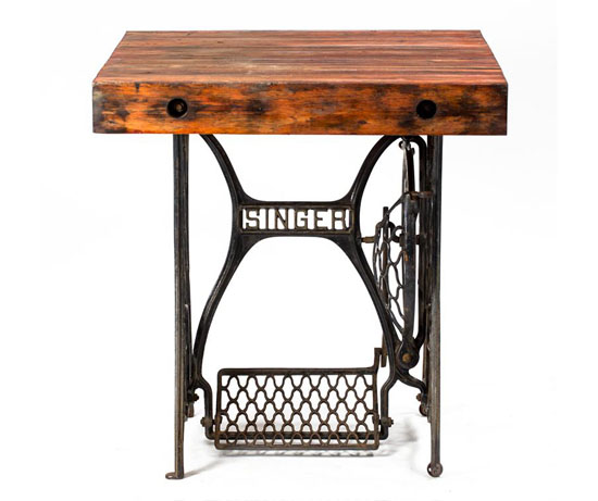 Vintage Reclaimed Wood Industrial Sewing Table