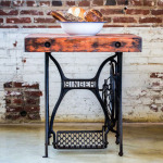 Gorgeous Vintage Reclaimed Wood Industrial Sewing Table Features Rustic Charm in Any Room