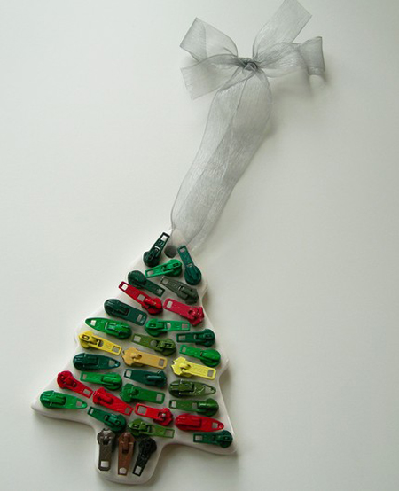 vintage zipper christmas ornaments - Recycled Christmas Decor