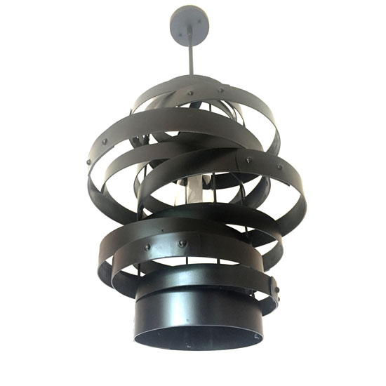 Vortex - Recycled Wine Barrel Metal Bands Pendant Light by Stil Novo Design