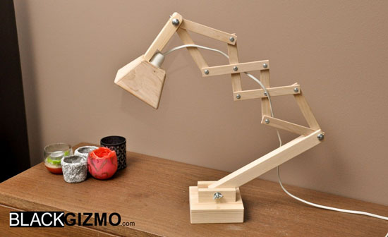 Black Gizmo Solid Wood Table Lamp