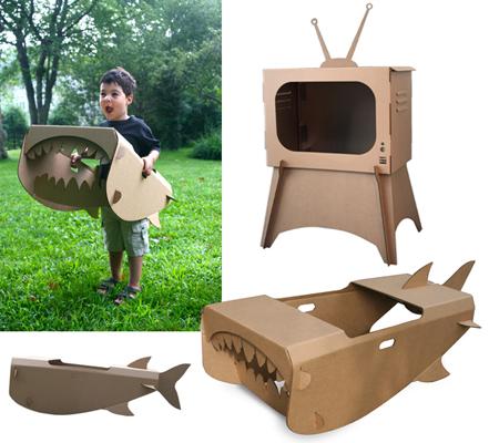 Cardboard Shark And TV