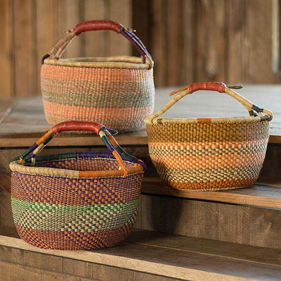 Ghanaian Variant Striped Bolga Market Basket