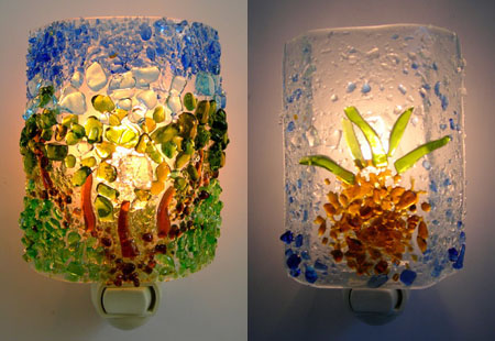 nightlights from recycled glass
