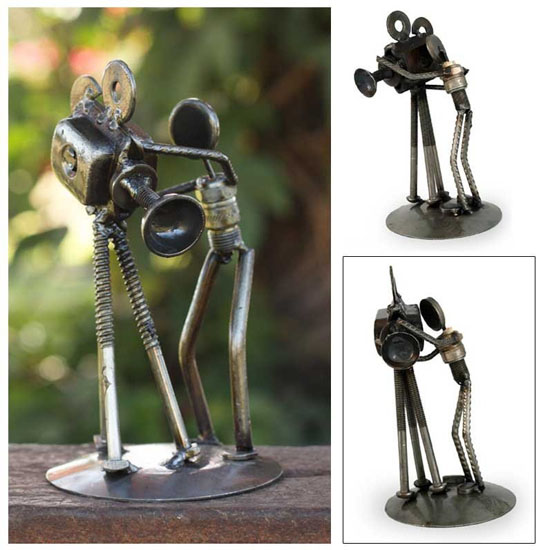 Novica Armando Ramirez Eco Friendly Recycled Metal Auto Parts Sculpture