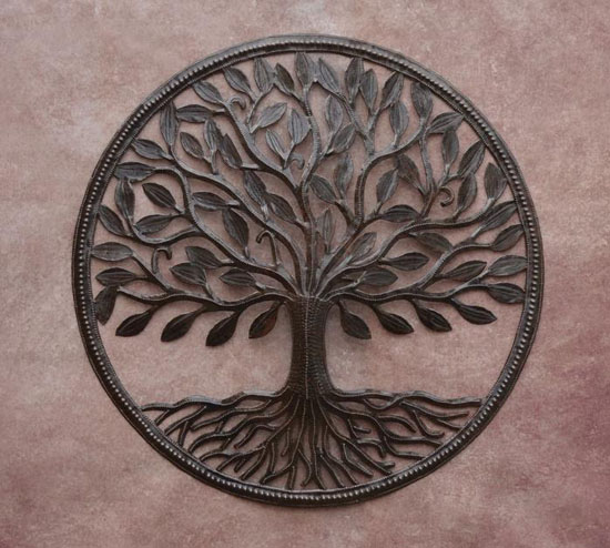 Organic Tree of Life Wall Art Is Made of Recycled Iron Barrel Cover