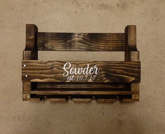 Beautiful Rustic Pallet Wine Rack That Can Be Personalized with Your Name