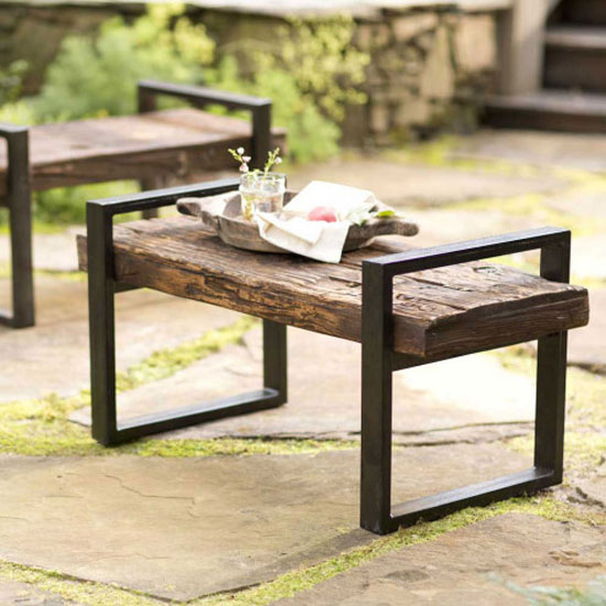 Reclaimed Outdoor Bench Made from Railroad Tie with Iron Frame