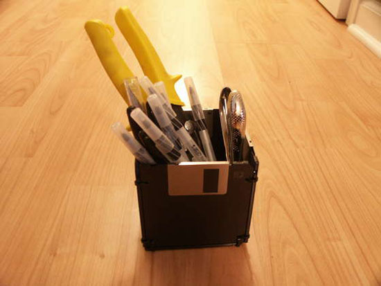 Recycled Floppy Disk Penholder