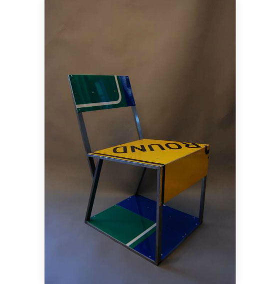 Recycled Traffic Sign Furniture Pieces