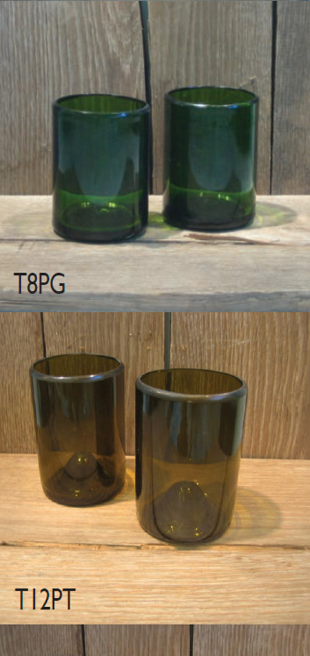 Recycled Wine Bottle Vase and Tumbler
