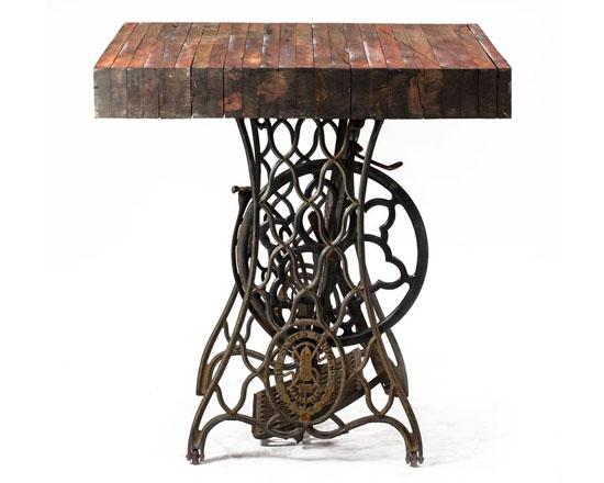 Vintage Reclaimed Wood Industrial Sewing Table