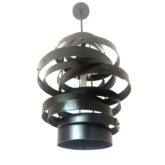 Vortex - Recycled Wine Barrel Metal Bands Pendant Light by Stil Novo Design
